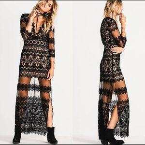 Jen's Pirate Booty Black Phantome Lace Maxi Dress
